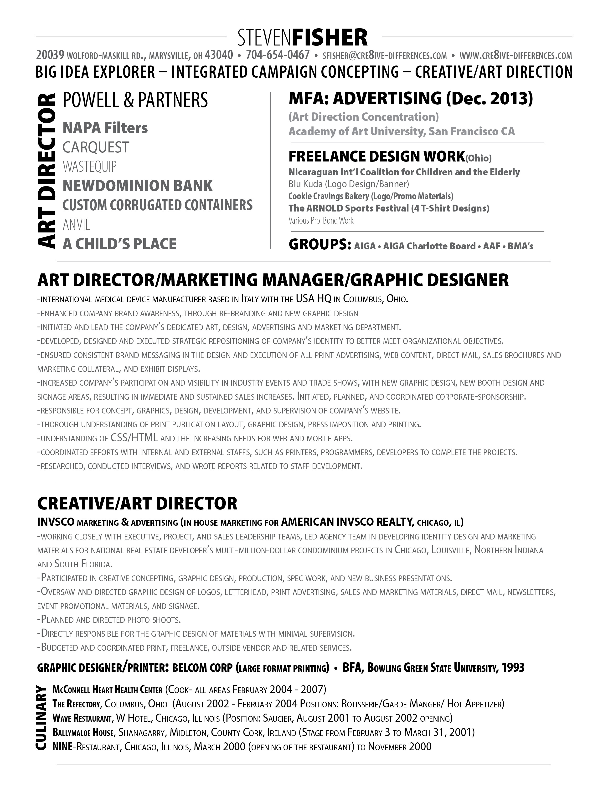 Steven Fisher-Art Director CV 2013 – Cre8ive-Differences, LLC