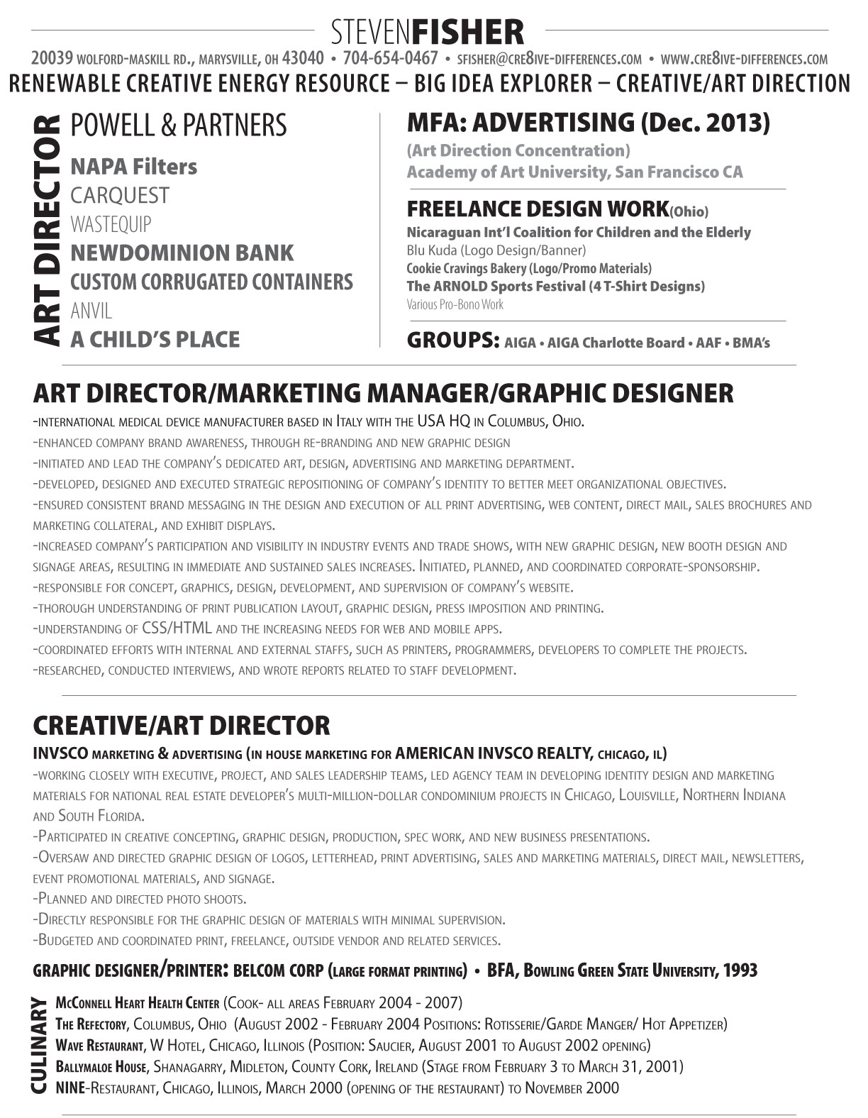 steven fisher director cv 2013 cre8ive differences llc